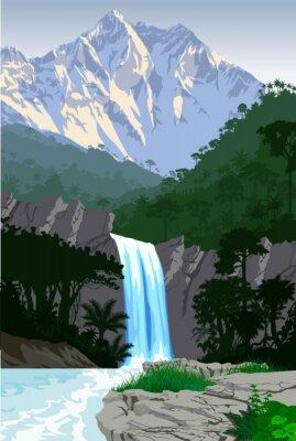Naklejka wektor piękny wodospad w dżungli lasów tropikalnych górach