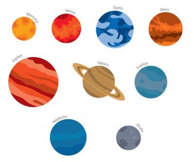 Naklejka Wektor płaski obraz planet Układu Słonecznego: pomarańczowy Merkury, Wenus czerwony, niebieski Ziemia, Mars czerwony, czerwony Jowisz, Saturn beżowy, niebieski Urana, Neptuna niebieski i szary Pluto n