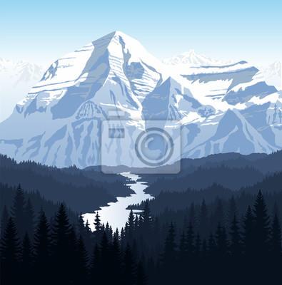 Naklejka Wektor rano pięknych gór rzeki