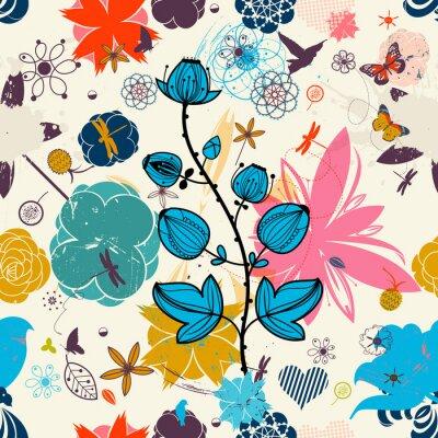 Naklejka Wektor Retro kwiatu (bez szwu deseń)