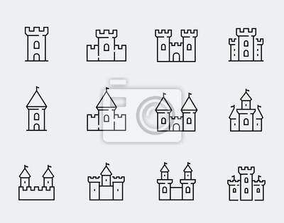 Naklejka Wektor średniowieczne zamki ikona w stylu cienkich linii