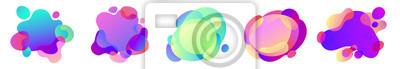 Naklejka Wektor streszczenie zestaw płynnych efektów swobodnych kształtów w gradientu opalizujące kolory z plastikowych linii i form.