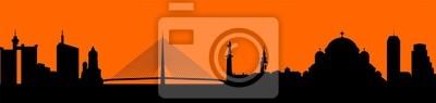 Naklejka Wektor - sylwetka ilustracji panoramę miasta