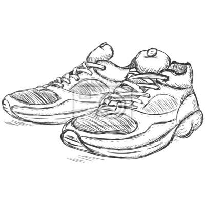 138c7acc2c310 Naklejka wektor szkic ilustracji - buty do biegania na wymiar ...