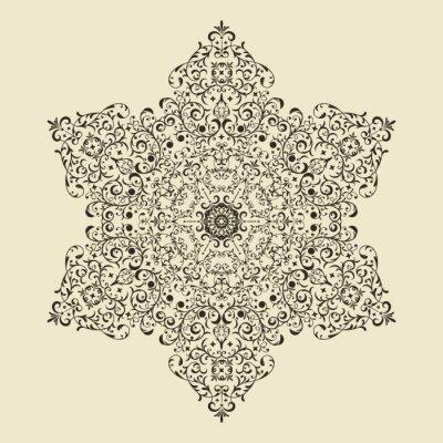 Naklejka Wektor Vintage Bardzo Szczegółowe Snowflake