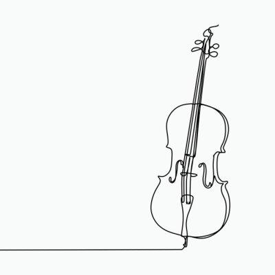 Naklejka Wektor wiolonczeli z jednym rysunkiem linii sztuki.