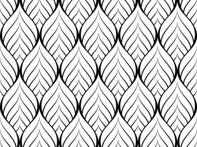 Naklejka wektor wzór kwiatowy, powtarzając liniowy płatek trójkąta jak kwiat, monochromatyczny stylowy, monochromatyczny wzór sześciokątny, arabeskowy wzór optyczny w czerni i bieli.