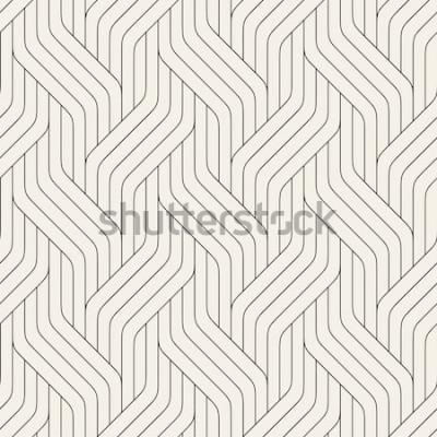 Naklejka Wektor wzór Nowoczesna stylowa tekstura. Geometryczny ornament w paski. Monochromatyczne plecionki liniowe