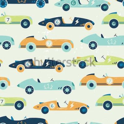 Naklejka Wektor wzór rocznika samochodów wyścigowych