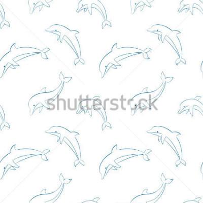 Naklejka Wektor wzór z delfinami / Skoki delfinów kontur wzór / ilustracja wektorowa delfiny / wzór delfiny włókienniczych / paper pakowy delfiny tło / delfiny powtarzającego się obrazu.