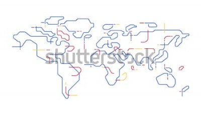 Naklejka wektor zarys mapy świata