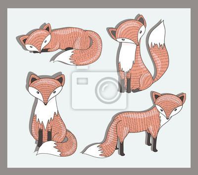 Naklejka Wektor zestaw cute lisa. Urocze zwierzęta leśne.