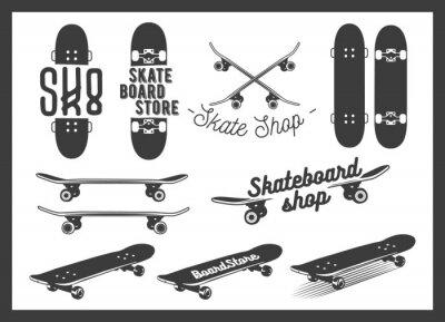 Naklejka Wektor zestaw deskorolka emblematów, etykiet, odznak i elementów konstrukcyjnych. Skateboarding koncepcji ilustracji