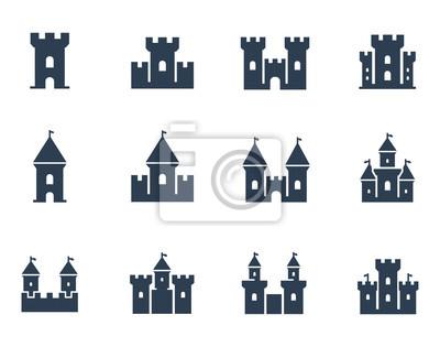 Naklejka Wektor zestaw ikon średniowiecznych zamków