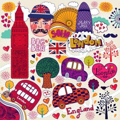 Naklejka Wektor zestaw symboli Londynu