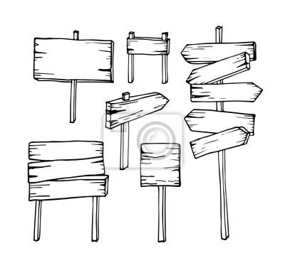 Naklejka Wektor zestaw wyciągnąć rękę Drewniane tablice informacyjne znak strzałki puste szyld