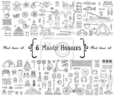 Naklejka Wektor zestaw z ręcznie rysowane Doodles izolowanych na temat 6 męskich hobby. Symbole pszczelarstwa, łowiectwa, rybołówstwa, turystyki, sportu, muzyki. Szkice do wykorzystania w projektowaniu