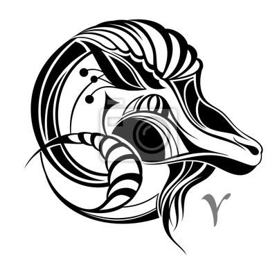Znak Zodiaku Baran Tatuaż Wektor Znak Zodiaku Baran
