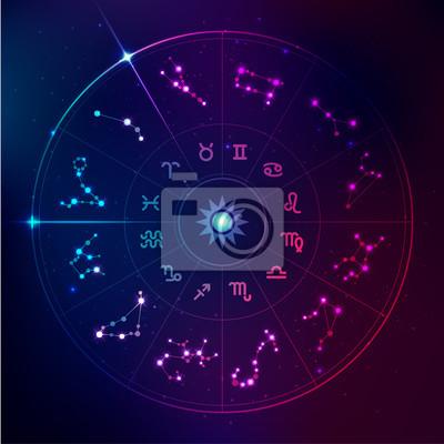 Naklejka wektor znaków horoskopu w futurystycznym stylu technologii, gwiazdy galaktyki w zodiaku
