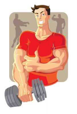 Naklejka wektora sportowiec w kolorze czerwonym z hantle