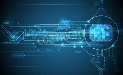 Naklejka Wektorowa Abstrakcjonistyczna futurystyczna obwód deska i jednostka centralna, ilustracyjny wysoki komputer i technologia komunikacyjna na błękitnym koloru tle. Zaawansowana technologia cyfrowa, globa