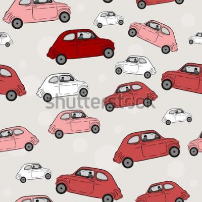 Naklejka Wektorowa bezszwowa ilustracja, samochody
