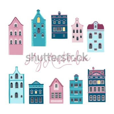 Naklejka Wektorowa ilustracja ulica z Europejskimi domami. Mój Amsterdam. Literowanie