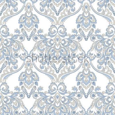 Naklejka Wektorowa kwiecista tapeta. Klasyczny barokowy ornament kwiatowy. Bezszwowy rocznika wzór