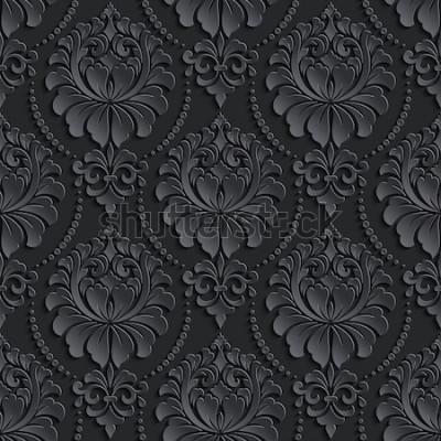 Naklejka Wektorowego zmroku adamaszka bezszwowy deseniowy tło. Elegancka, luksusowa tekstura tapet, tła i wypełnienia strony. Elementy 3D z cieniami i światłami. Wycinanka.