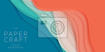 Naklejka Wektorowy 3D abstrakcjonistyczny tło z papieru cięcia kształtem. Kolorowe rzeźby. Rzemiosło papierowe Kanion Antylopy krajobraz z kolorami gradientu. Minimalistyczny design do prezentacji biznesowych,