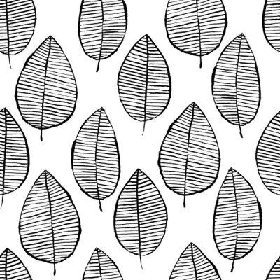 Naklejka Wektorowy bezszwowy wzór z akwarelą wręcza patroszonych liście. Czarno-białe tło konspektu. Modna skandynawska koncepcja projektowania modowego druku tekstylnego. Charakter ilustracja.