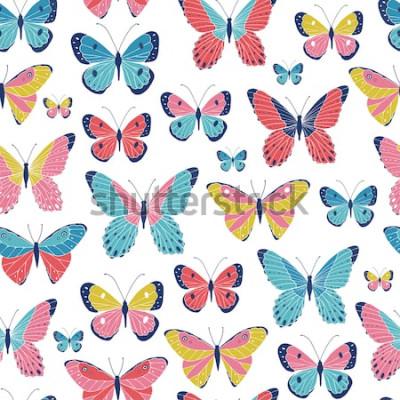 Naklejka Wektorowy bezszwowy wzór z motylami