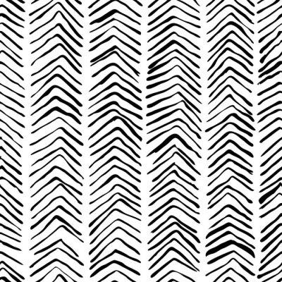 Naklejka Wektorowy czarny biały ręka rysujący herringbone bezszwowy wzór. Streszczenie uderzeń tekstura tło, akwarela, atrament i znacznik luki. Modna skandynawska koncepcja projektowania modowego druku teksty