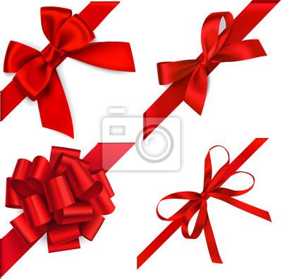 Naklejka Wektorowy ustawiający czerwony łęk z diagonaly faborkiem na kącie dla prezenta wystroju