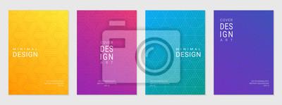 Naklejka Wektorowy ustawiający okładkowy projekta szablon z minimalnymi geometrycznymi wzorami, nowożytny różny koloru gradient.