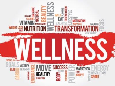 Naklejka WELLNESS wordcloud, fitness, sport, zdrowie koncepcja