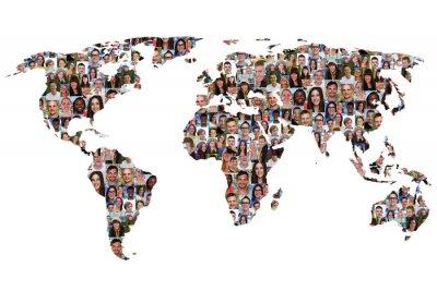 Naklejka Welt Erde Weltkarte Menschen Leute Gruppe Integracja multikultu