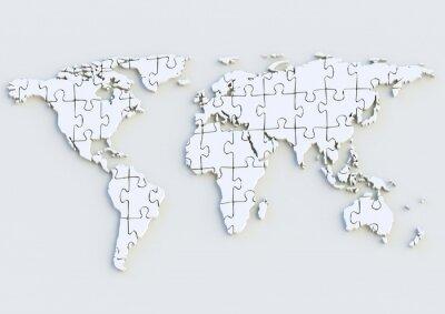 Naklejka Weltkarte - Mapa świata puzzle 3D als