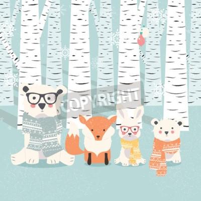 Naklejka Wesoło bożych narodzeń pocztówka z niedźwiedziami, lisem i królikiem w lasowej ilustraci ,.