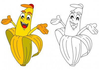 Naklejka Wesoły żółty banan z kapelusza jak kolorowanka dla małych dzieci - wektor svg
