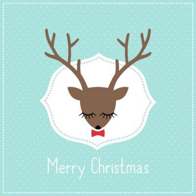Naklejka Wesołych kartka świąteczna z cute jelenia z łuku. Jelenia głowa ilustracja na światło niebieskie kropki tle.