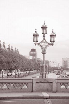 Naklejka Westminster Bridge Latarni; Londyn w czerni i bieli Sepia Tone