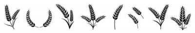 Naklejka wheat ears icon set, bakery vector illustration
