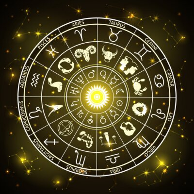 Naklejka wheel of the signs of the zodiac, figures and symbols of the horoscope