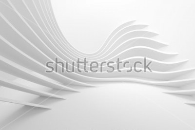 Naklejka White Architecture Circular Background. Modern Building Design. Abstract Curved Shapes. 3d Rendering