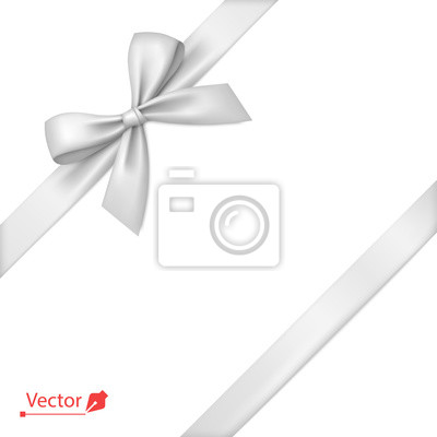 Naklejka White bow with diagonally ribbon on the corner. Vector bow for page decor, gifts, greetings, holidays.