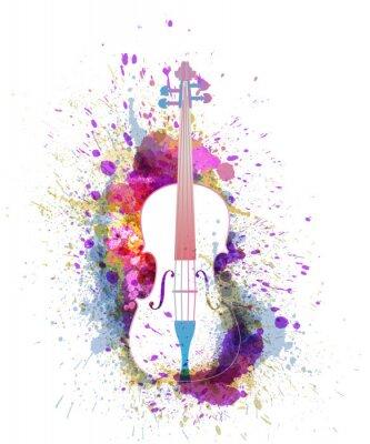 Naklejka White cello or violin with bright colorful splashes. Creative music concept. Vectot illustration