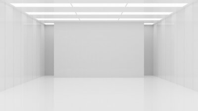 Naklejka White clean empty architecture interior space room studio background wall display products minimalistic. 3d rendering.