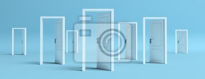 Naklejka White doors opened on blue background, banner. 3d illustration
