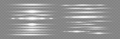 Naklejka White horizontal lens flares pack. Laser beams, horizontal light rays. Beautiful light flares.